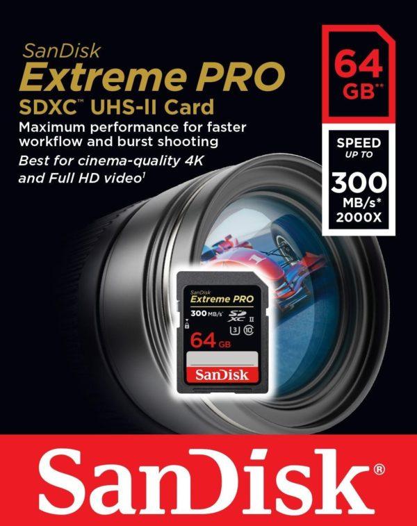 Карта памяти SanDisk Extreme Pro 2000x SDXC UHS-II [Extreme Pro 2000x SDXC UHS-II 64Gb]