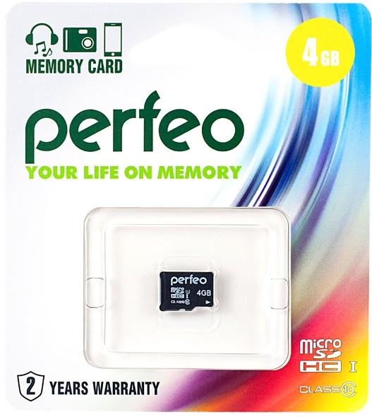 Карта памяти Perfeo microSDHC UHS-I C10 [microSDHC UHS-I C10 4Gb]